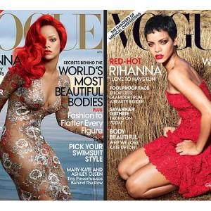 Les Unes de Rihanna pour l'édition américaine de Vogue. A gauche, en 2011. A droite, en 2012.