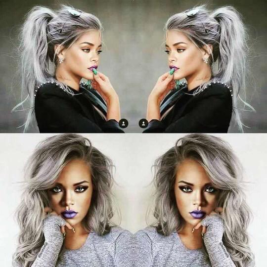 Coloration grise : Rihanna cheveux gris argentés